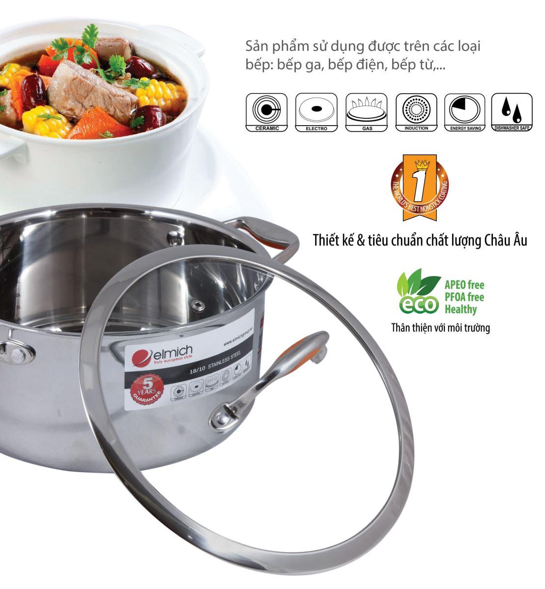 Bộ nồi inox Elmich Matador sử dụng được trên tất cả các loại bếp