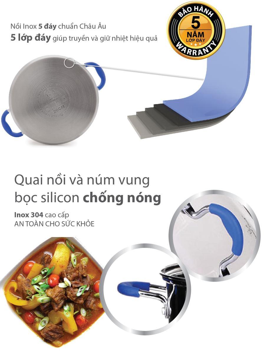 Bộ nồi inox 5 đáy Smartcook với 5 lớp đáy siêu bền