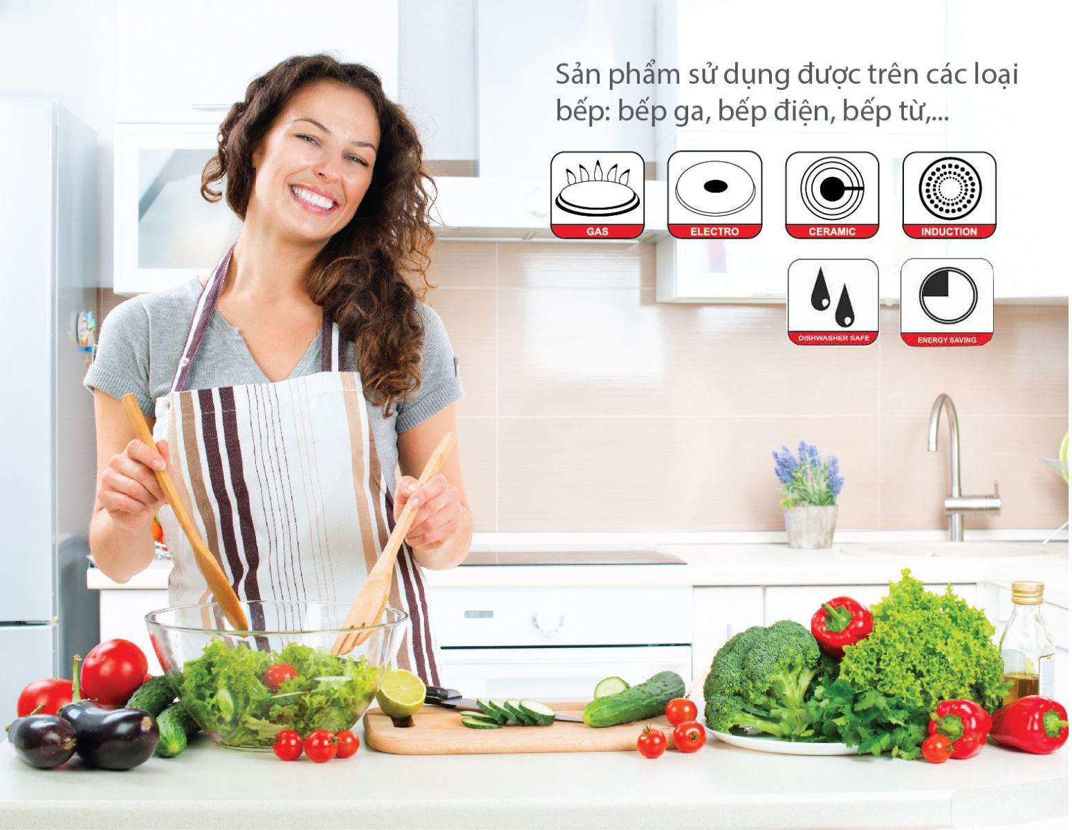 Bộ nồi inox 5 đáy Smartcook sử dụng được trên tất cả các loại bếp